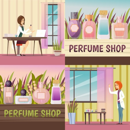 Four square perfume shop icon set with themes about creating a new fragrance and already created perfume vector illustration 版權商用圖片 - 81303996