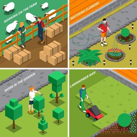 Het werken aan landbouwbedrijf2x2 ontwerpconcept met mensen die voor huisdieren geven die bloemen water geven die isometrische vectorillustratie van gras snijdende struiken maaien Stock Illustratie