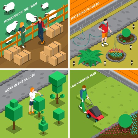 Working on farm 2x2 design concept with people caring for pets watering flowers mowing grass cutting bushes isometric vector illustration