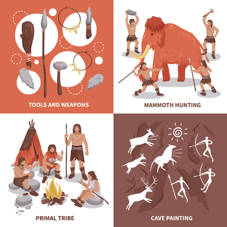 Primal tribe people concept icons set flat isolated vector illustration Illustration