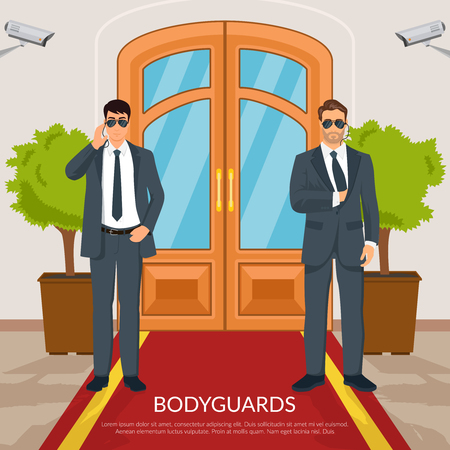 Bodyguard at doors with men red carpet and camera flat vector illustration 版權商用圖片 - 81303991