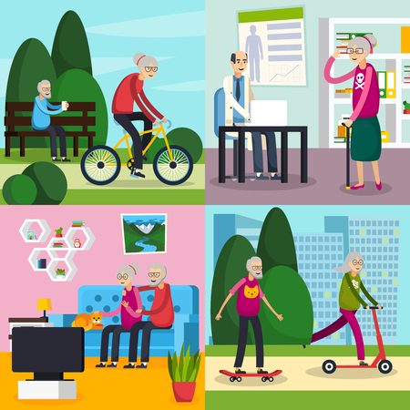 Four square aged elderly people orthogonal composition set with old people spend their free time vector illustration