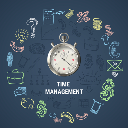 effectiveness: Time management round composition with 3d stopwatch, hand drawn business icons on textured dark background vector illustration