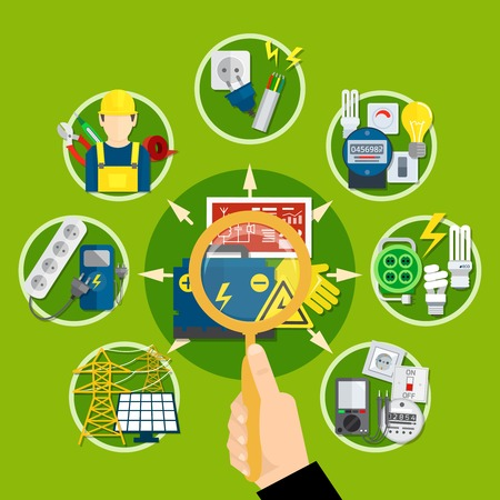 Composition with magnifier in hand, electrical appliances and technologies including solar battery on green background vector illustration