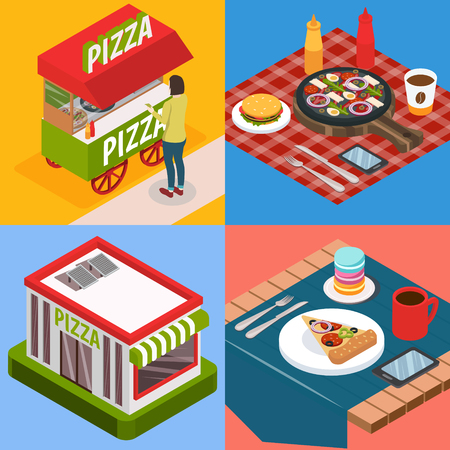 Pizzeria isometric design concept with street food, restaurant building, pizza with beverage and smartphone isolated vector illustration