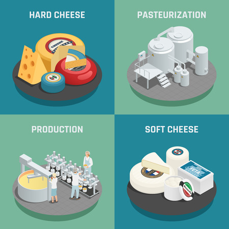 Hard and soft cheese production concept 4 isometric icons set square with pasteurization process  isolated vector illustration