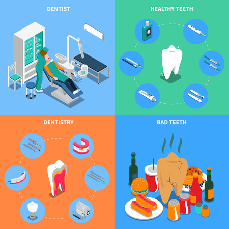 Dentistry 2x2 design concept with dentist equipment healthy and bad teeth square compositions isometric vector illustration Illusztráció