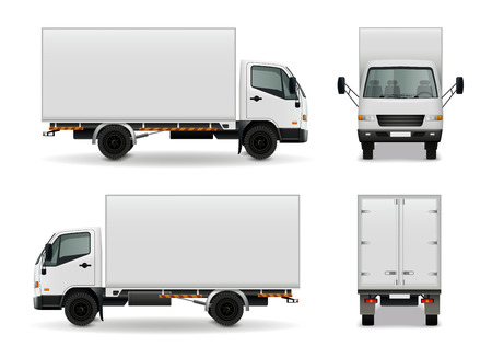 Lorry with blank surface realistic advertising mockup side view, front and rear on white background vector illustration Stock Illustratie