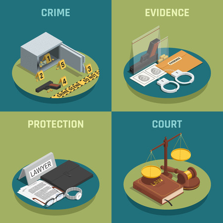 Law justice 4 isometric icons concept square composition with crime evidence and court symbols isolated vector illustration Иллюстрация