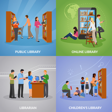 Library concept icons set with public and online library symbols flat isolated vector illustration