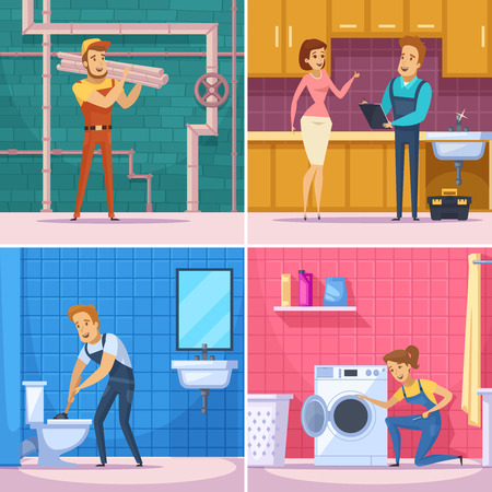Plumber 2x2 design concept with professional  workers busy repair of plumbing equipment and home appliances flat vector illustration