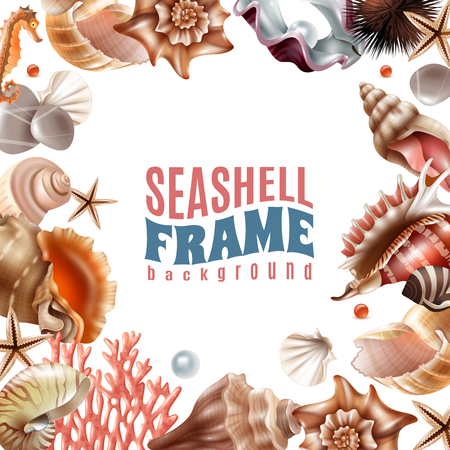 Realistic frame decorated with realistic seashells and sea animals on white background vector illustration