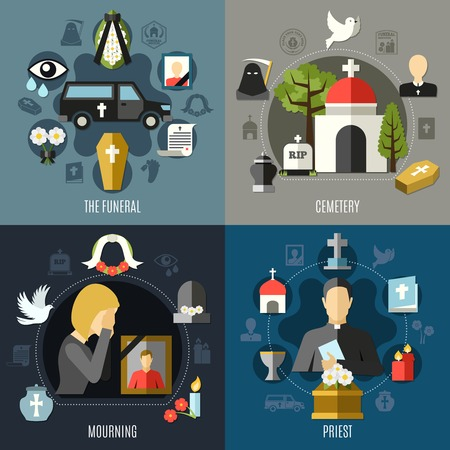 Funeral concept icons set with mourning and priest symbols flat isolated vector illustration