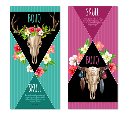 Realistic set of two vertical colorful banners with cow skulls decorated with flowers and feathers in boho style isolated on white background vector illustration