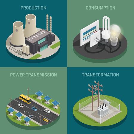 Production d'énergie électrique générant le poste de transformation de transmission et le concept de consommation 4 Icônes isométrique carré isolé d'illustration vectorielle Banque d'images - 81304310