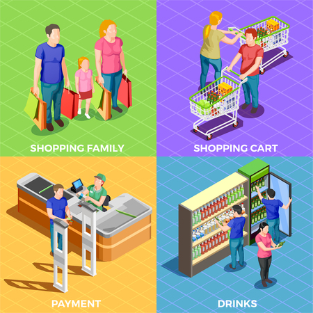 Male and female people doing shopping in supermarket 2x2 design concept isolated on colorful backgrounds 3d isometric vector illustration