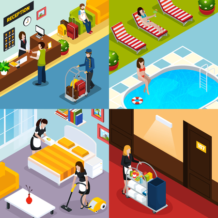 Four square hotel service isometric icon set with reception room pool maids cleaned room vector illustration
