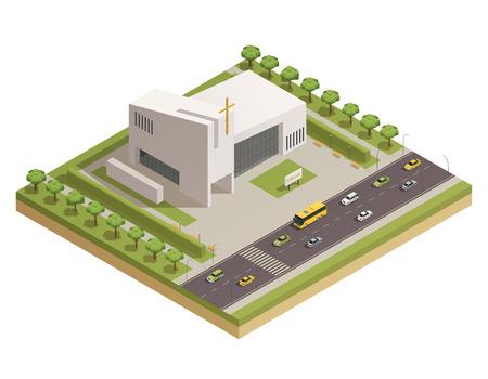 Iglesia protestante moderna edificio de piedra blanca con cruz junto a la carretera de autopista ocupada composición isométrica ilustración vectorial cartel Foto de archivo - 81315327