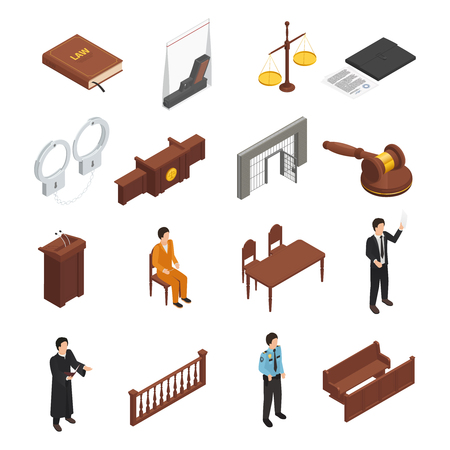 Law justice symbols isometric icons collection with bible handcuffs criminal defendant and prosecuting attorney isolated vector illustration