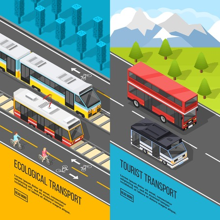 Set of two vertical transport banners with rail transport and suburban tourist buses with read more button vector illustration