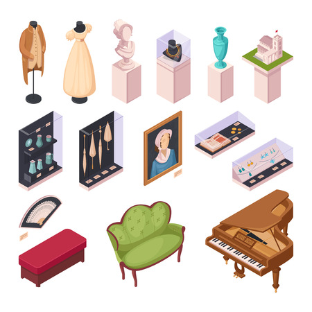 Museum exhibition isometric icons set with interior items historical fashion and ancient houseware 3d vector illustration
