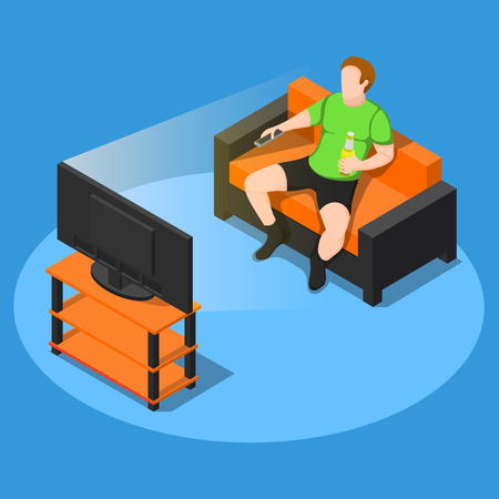 Sedentary lifestyle isometric composition of faceless male character with bottle of beer on couch watching television vector illustration