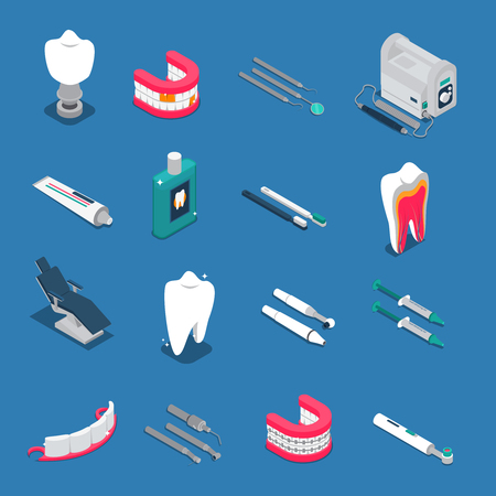 Stomatology isometric colored  icons isolated on blue background with dentures and tools for dental care vector illustration