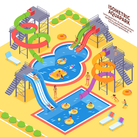 Aqua park and swimming with people and chaise lounges isometric vector illustration