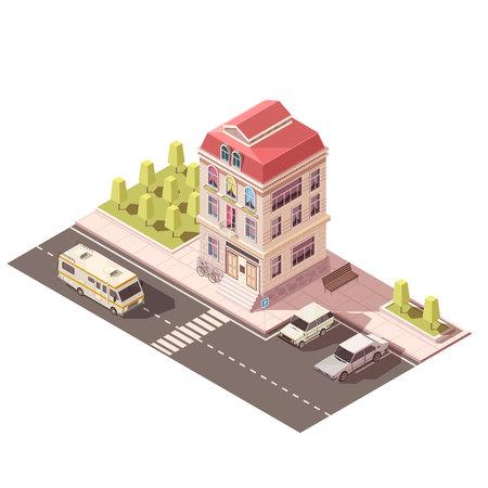 아치형 창문, 사다리, 빨간 지붕, 주차장, 도로 인프라 아이소 메트릭 모형 벡터 일러스트와 현관