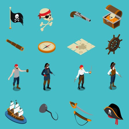 Pirates isometric icons with hand hook binoculars weapon map flag trunk wooden wheel isolated on blue background vector illustration