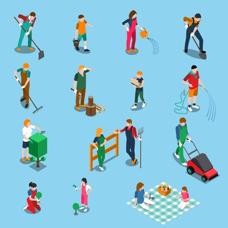 Gardening isometric icons set with people working in garden and relaxing in nature isolated on blue background vector illustration