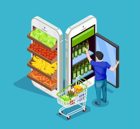 Man with full cart of products taking bottle out of fridge in form of mobile phone on blue background online shopping concept 3d isometric vector illustration