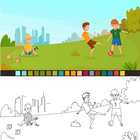 Kleurplaat kinder samenstelling met twee foto's niet geverfd en geschilderd voor kinderen creativiteit vector illustratie
