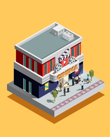 viewing: Isometric cinema building with people at entrance on yellow background 3d vector illustration Illustration