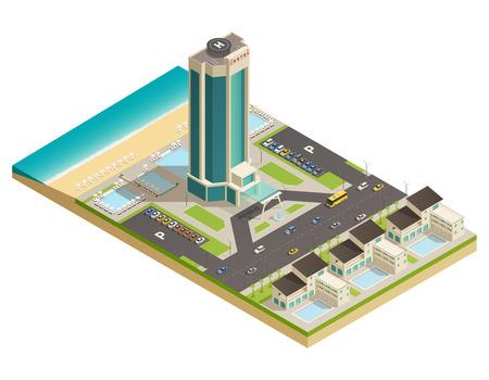 Luxueuze moderne de bouwhoteltoren in de samenstelling van het toevluchtgebied met isometrische de menings vectorillustratie van het wegparkeerterrein