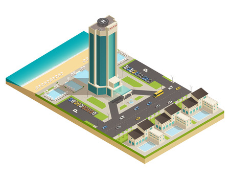 Luxurious modern building hotel tower in resort area  composition with road parking lot isometric view vector illustration Çizim