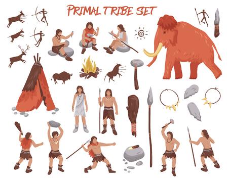 Ícones de pessoas da tribo primordial conjunto com ilustração em vetor isoladas plana arma e animais