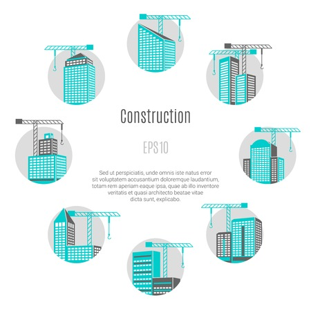 Construction concept with house and city symbols flat isolated vector illustration
