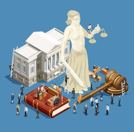 Isometrisches Ikonenkonzept der Gesetzes- und Gerechtigkeitssymbole auf blauer Vektorillustration des Hintergrundes 3d Vektorgrafik