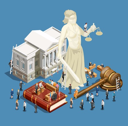 Law and justice symbols isometric icon concept on blue background 3d vector illustration