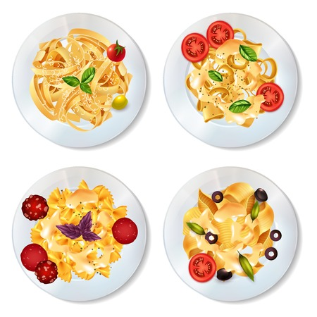 Delicious pasta dishes with sauce pepperoni tomatoes olives and herbs realistic set isolated on white background vector illustration Çizim