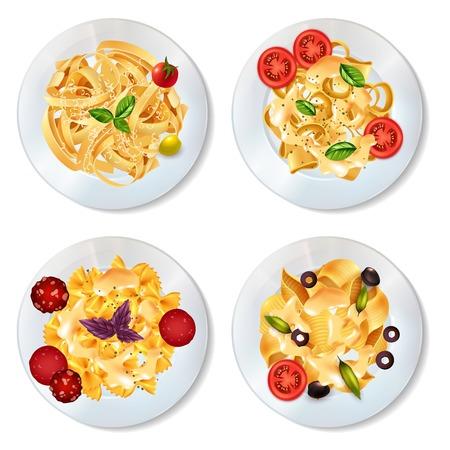 I piatti deliziosi della pasta con le olive dei pomodori delle merguez della salsa e l'insieme realistico delle erbe isolati su fondo bianco vector l'illustrazione Archivio Fotografico - 81315665