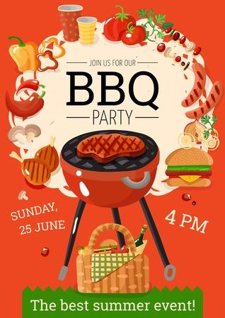Il manifesto di annuncio del partito del bbq dell'estate con l'alimento degli accessori del barbecue del canestro della griglia beve l'illustrazione piana di vettore del fondo arancio Archivio Fotografico - 81315668