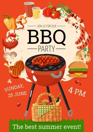 Summer bbq party announcement poster with grill basket barbecue accessories food drinks orange background flat vector illustration