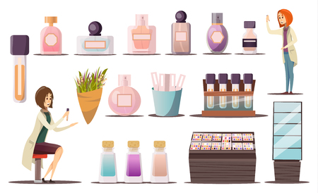 Icône de boutique de parfum sertie de vitrines de coins cosmétiques et produits cosmétiques vector illustration
