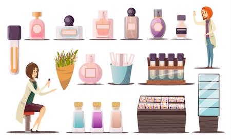 Parfümshopikone stellte mit kosmetischen Eckeschaufenstern ein und kosmetische Produkte vector Illustration