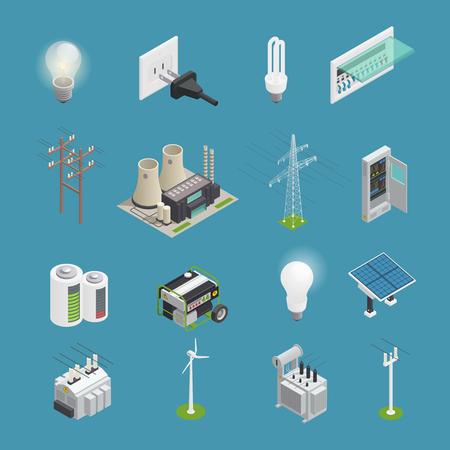 Conjunto isométrico de los iconos de alimentación con el bulbo del enchufe del conector eléctrico y generador de energía del molino de viento aislado ilustración vectorial