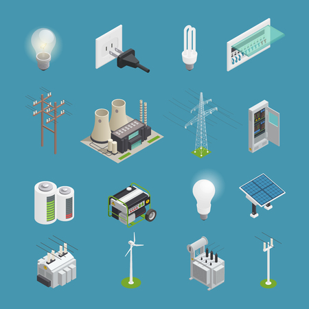 Power icons isometric set with electrical connector socket plug bulb and windmill energy generator isolated vector illustration