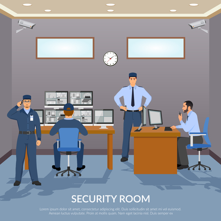 Security room with officers screens clock and table flat vector illustration