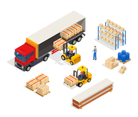 Warehouse truck isometric composition with manipulator carts loading boxes into lorry with freight handler human characters vector illustration